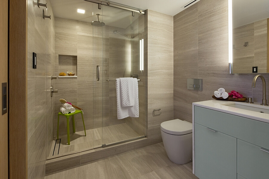 Modern bathroomw with glass shower enclosure